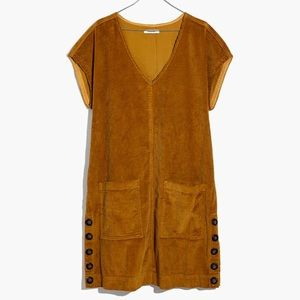 Madewell gold corduroy shift